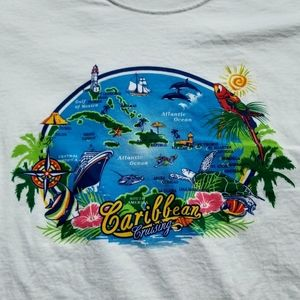 Colorful Carribean Cruising graphic tee with ships